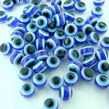 50Pcs/Lot 8mm Dark Blue Kabbalah Evils Eye Stripe Round Acrylic Resin Beads ACB030(China)