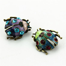 The New free shipping the new fashion Fashionable woman Crystal accessories wedding gifts pin blue purple alloy ladybug brooch