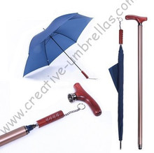 Crutch umbrella+alloy case,6 ribs,pongee fabric,10mm metal shaft and fluted metal ribs+Exquisite gift packing,old man gift(China)