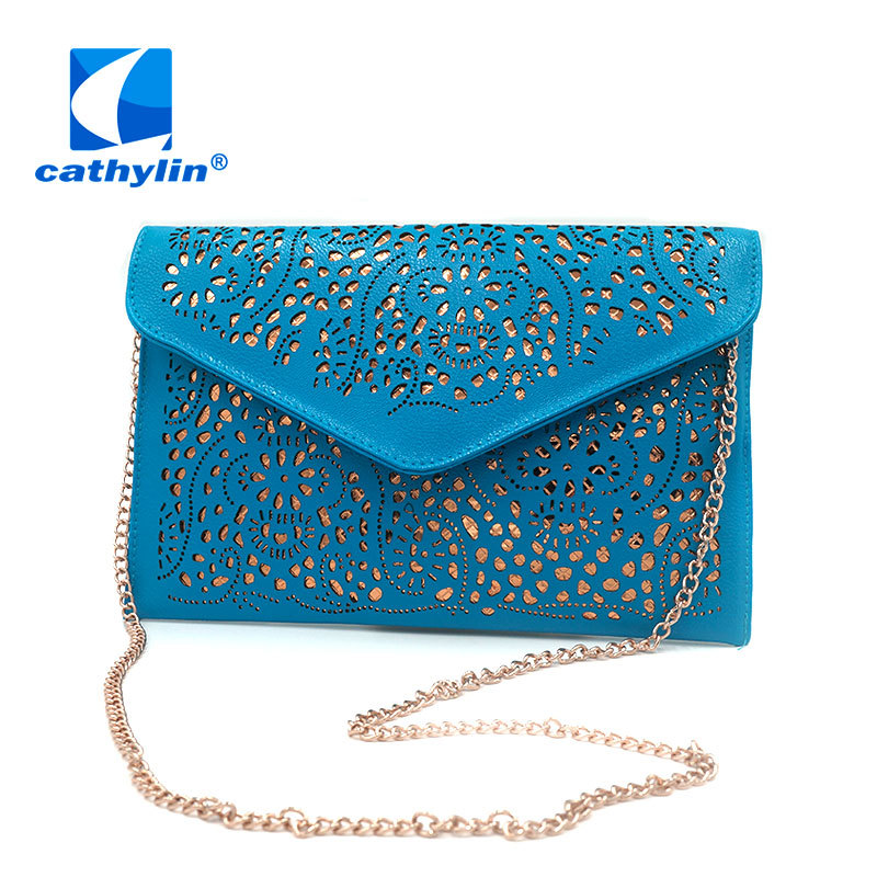 Cathylin Hot New 2015 Hollow out envelope bag neon color cutout handbag pu leather candy color day clutch womens shoulder bags<br><br>Aliexpress