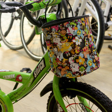 Drbike Bicycle Cartoon Front Basket  Pet Carrier Kids Bike Foldable Storage Bag Toy Basket Front Carrier