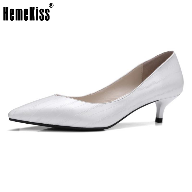 KemeKiss Female Genuine Leather Med Heels Pumps Ladies Sexy Pointed Toe Slip On Shoes Women Concise Office Footwear Size 33-41<br>