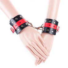 Sex Adult Game Fetish Handcuffs Black PU Leather Wrist Restraints Sexy Costume Bed Restraint Sex Toys for Couples Women and Men