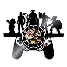 1Piece Playstation Game Characters Theme Vinyl Record Wall Clock Gamepad Controller Design Vintage Time Clock Christmas Gift