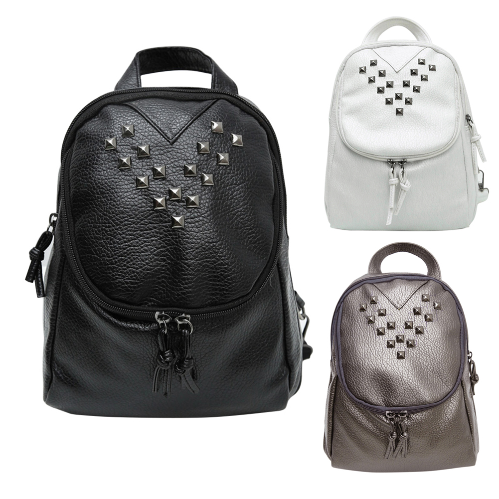 2017 New Backpacks Fashion PU Leather Shoulder Bag rivet Decor Small Backpack College School Bags  Lady Small Travel Backpack <br><br>Aliexpress