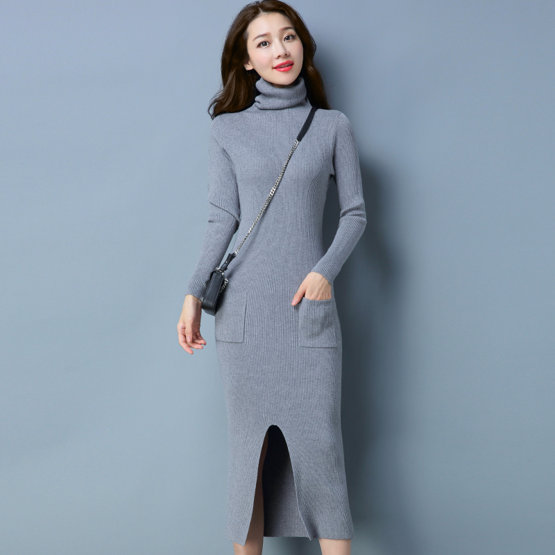 Knitted Dresses Woman Cashmere Sweaters Warm Winter Long Sleeve Sexy Slim Female Pullovers Turtleneck Sweater Dress Maxi ElegantÎäåæäà è àêñåññóàðû<br><br>