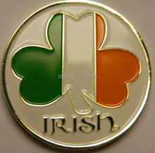 high quality Lucky Irish Clover Flag Pocket Coin With removable Golf Ball Marker  Low price custom carved coins