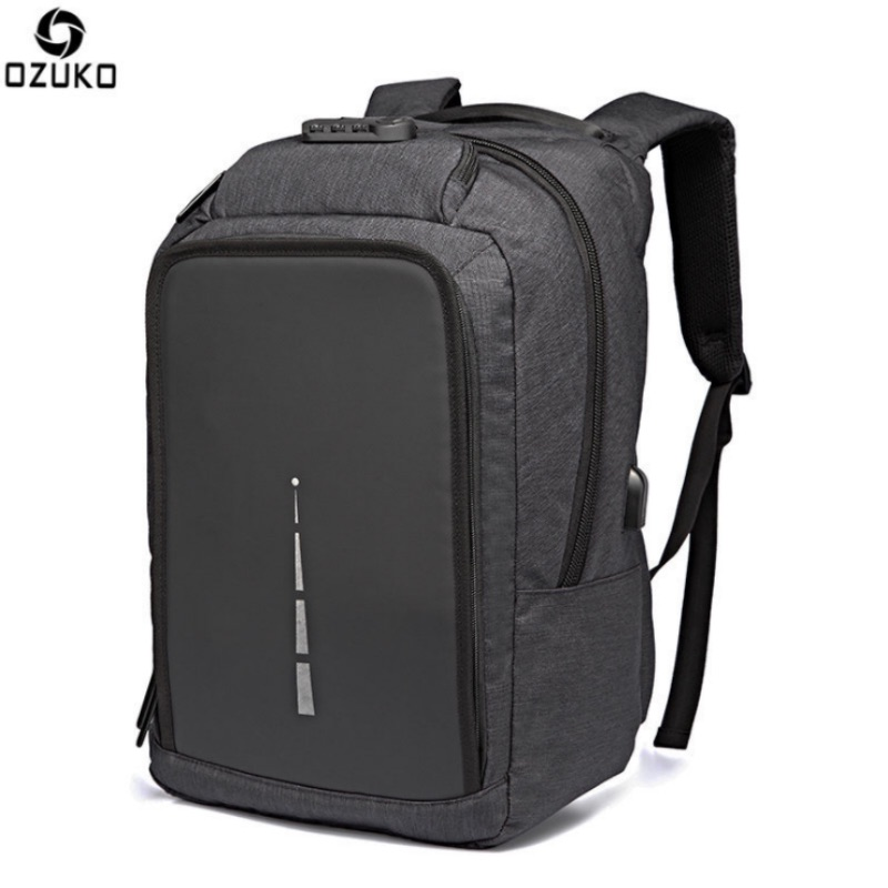 OZUKO Men Backpack 17 Inch Laptop Zip Lock Bag USB Charge Antitheft  Men Women Computer Notebook Bag Travel bag Waterproof <br>