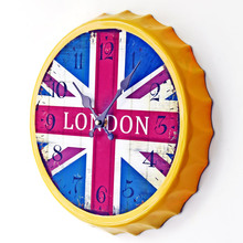 The British Flag Beer Cover Wrought Iron Wall Clock Creative Restaurant Bar Decorative Wall Clock Home Decor(China)