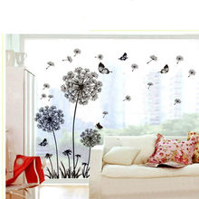 Beautiful black romantic pvc dandelion butterfly bedroom living room TV background decoration(China)
