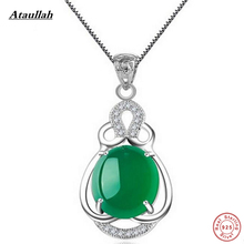 Real Natural Jade 925 Sterling Silver Link Chains Pendants Necklaces for Women 925 Sterling-Silver-Jewelry Brand Ataullah SSN006(China)