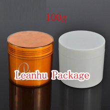 100g X 24 empty Plastic cosmetic cream container, double wall cream jar , amber / white color face cream pot , plastic bottle