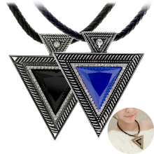 LNRRABC New Black Choker Necklaces For Women Leather Pendant Women Rhinestone Triangle Necklace Sweater Chain Fashion Jewlery
