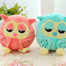 20cm wholesale on sale green/pink owl plush toys wedding gift stuffed birds plush cloth doll 2 colors kids toys Sucker pendant(China)
