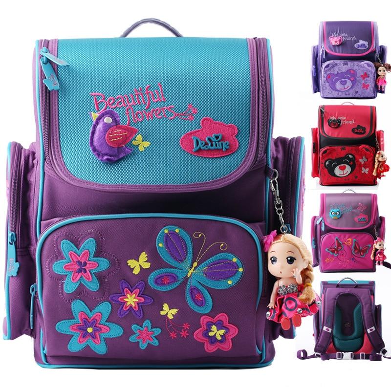 Delune Brand Cute Bear Butterfly School Bag for Girls Orthopedic Portfolio School Backpack Princess Mochila Infantil Kid Bag<br><br>Aliexpress
