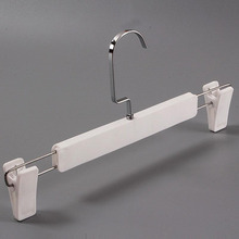 10 Pcs/Lot Adjustable White Plastic Pants Skirt Bottom Hanger Rack with Clips, Strong Hanger for Clothes Shop(China)