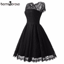 Bamskarosa Hot Sale Womens Summer Lace Dress 2017 Vintage O Neck Slim Sexy Pin up Rockabilly Vestidos Party Black Lace Dresses(China)