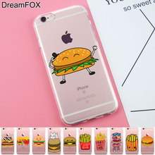 L289 Hamburgers And Fries Soft TPU Silicone  Case Cover For Apple iPhone X 8 7 6 6S Plus 5 5S SE 5C 4 4S