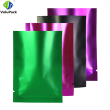 Variety of Sizes Aluminum Foil Mylar Flat Pouch Heat Seal Clear Front Matte Green Purple Rose Black Open Top Bags w/ Tear Notch(China)