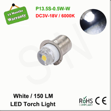 1X P13.5S PR2 0.5W LED Light Bulb For Focus Flashlight Replacement Bulb Torches Emergency Work Light White 6000K 3V-18V DC