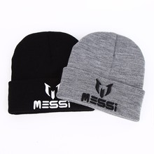 2017 New Soccer Messi Fans Hat women Men Skullies Black Gray Women Beanie Whiter Hats Beanies Warm Knitted Hat Wool Cap Gorros(China)