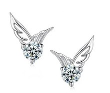 Promotion hot sell fashion angel wings design zircon crystal 30% silver plated ladies`stud earrings jewelry gift wholesale
