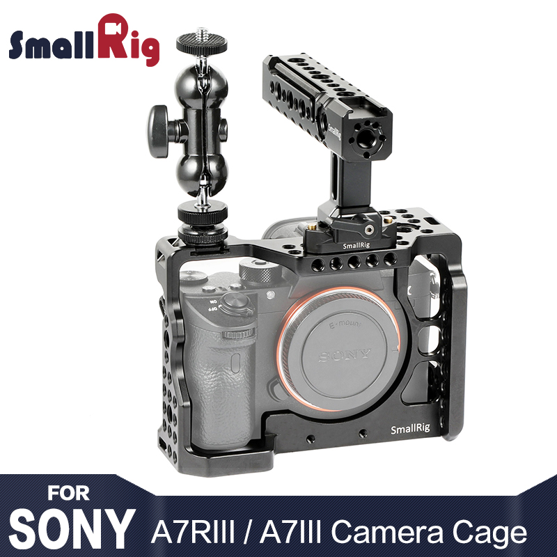 SmallRig a7r3 Camera Cage Kit for sony a7m3 for Sony A7R III Camera / A7 III Cage Rig W/ Top Handle Grip Camera Ball Head 2103 title=