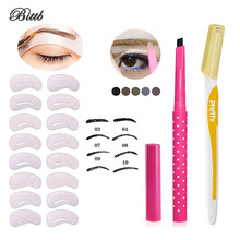 Bittb Eye Beauty Makeup Set Eyebrow Trimmer Auto Eyebrow Pencils 24 Styles Stencil Card Painting Templates Eyes Make Up Tool Set(China)