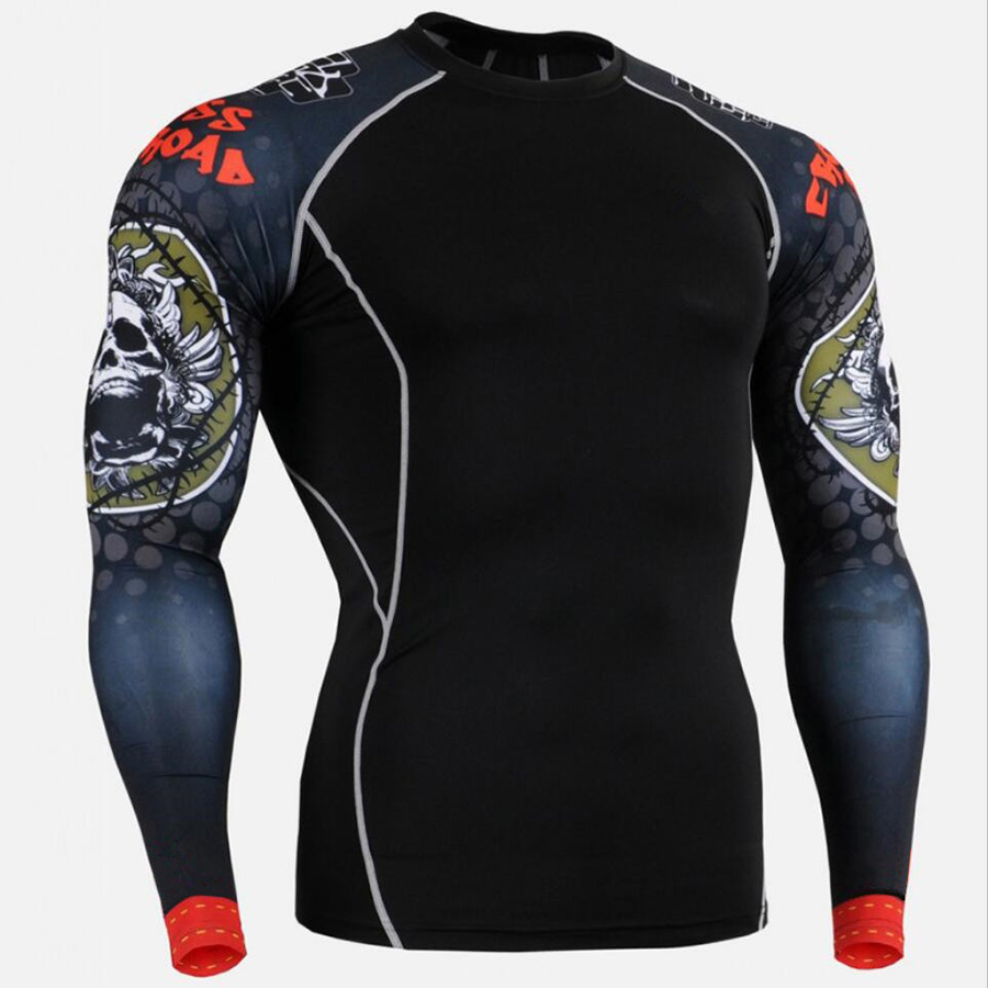 Mens-Compression-Shirt-Sport-Shirt-Men-Punisher-Skull-Long-Sleeve-Running-T-Shirt-Bodybuilding-GYM-Fitness