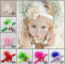 wholesale Feather Headband hairband fabric flowers pearl rhinestone headbands children hair accessories Christmas 10pcs/lot(China)