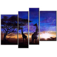 Professional Artist Handmade High Quality Beautiful Deep Blue and Purple Sky African Landscape and Giraffe Oil Painting