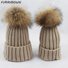 Buy Twinning Style Parent-child Winter Beanie Hats Baby Children Real Raccoon Fur Hat Kids Pompom Skullies Caps for $6.93 in AliExpress store