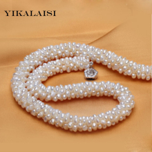 YIKALAISI 2017 925 sterling silver jewelry 100% natural freshwater pearl necklaces white  pearl  best gifts for women girls