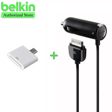 Promotion! Belkin Original MFi Certified Car Charger for iPhone 4S (Additional 30 pin to Micro USB Adapter as gift) with Package