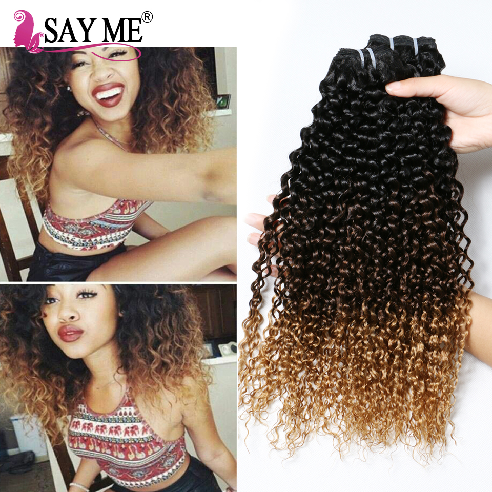 Soft Malaysian Virgin Hair Kinky Curly 3 Bundles Ombre Afro Kinky Curly Hair Three Tone Human Hair Weave Blonde Ombre Remy Hair<br><br>Aliexpress