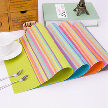 Striped PVC Anti-skid Table Pad Anti-scald Insulation Home Kitchen Placemat Tablemat for Dining Plate Bowl Tableware Pot Cup Mat