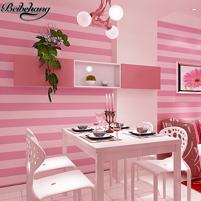 beibehang vertical striped wallpaper modern minimalist pink princess girl childrens room cozy room Bedroom nonwoven wallpaper<br>