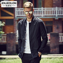 Enjeolon brand 2017 winter Bomber jackets men, fashion fit black solid plus size Mens coats, stand collar Jacket clothes WT0216(China)