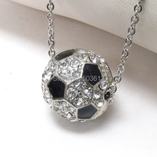 Fashion Half Ball Football Charm Alloy Sporty Enamel Soccer ball Pendant Necklace one piece xy020(China)