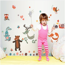 Removable Small Animals Bird Owl Wall Stickers Bedroom Wall Stickers For Kids Rooms Baby Room Decor Wall Decals