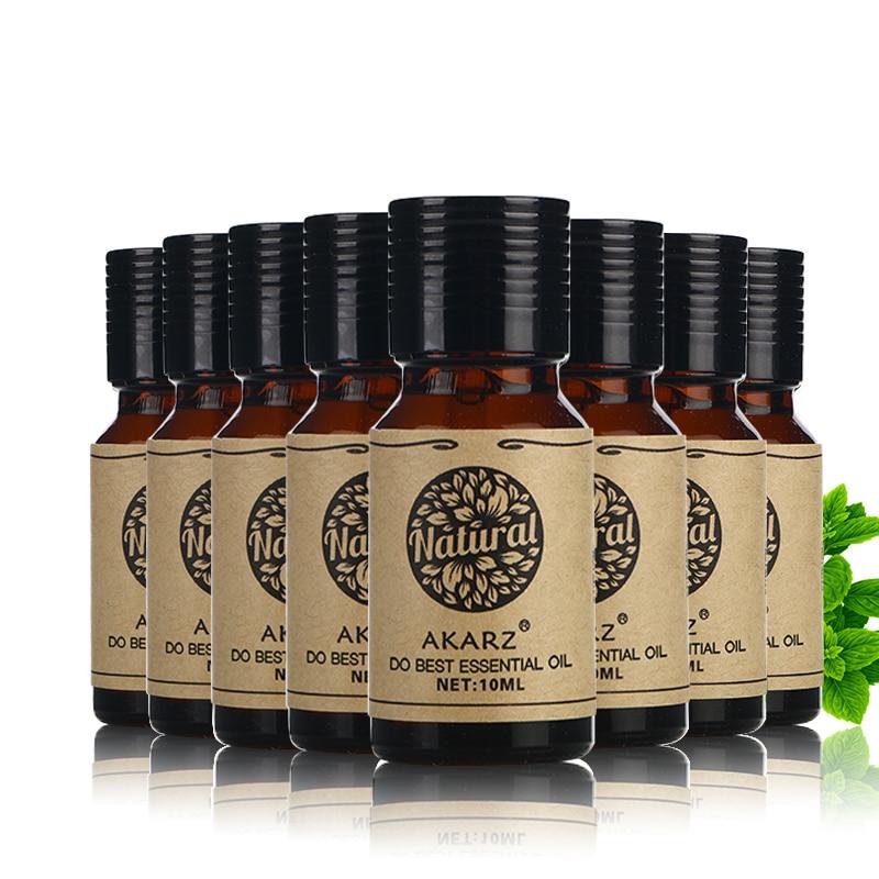 AKARZ Famous brand value meals Rose Lotus Castor Tea Tree Lemon Frankincense Spearmint Verbena essential Oils 10ml*8<br>