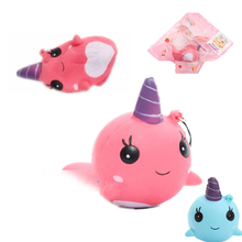 JETTING Kawaii Anti-stress Squishy Mini Pink Blue Unicorn Scent Squeeze Very Slow Rising Rebound Toy Soft Doll Phone Strapes(China)