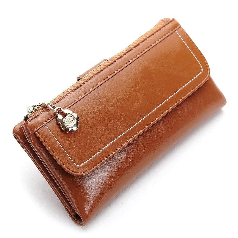 Genuine Leather Wallets Female Carteira Feminino Dollar Price Purse Oil Waxing bayan cuzdan Free Shipping Women Bags<br><br>Aliexpress