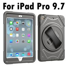 For Apple iPad Pro 9.7 2016 Hand Belt Holder Full Body Armor Shockproof Case Cover for iPad Pro 9.7(China)
