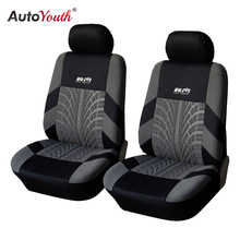 AUTOYOUTH Hot Sale Front Car Seat Covers Universal Fit Tire Track Detail Vehicle Design Seat  Protective Interior Accessories
