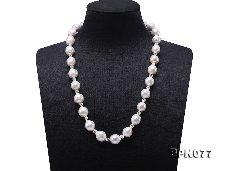Perfect Big Real Pearl Jewellery,AA 11.5-12.5MM White Baroque Freshwater Pearl Rhinestone Necklace,Charming Women Birthday Gift
