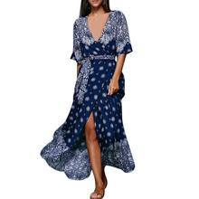 Women's Summer Dess women off-shoulder chiffon dot wrap dress Deep V Neck Sexy Women High quality chic floral print cotton dess