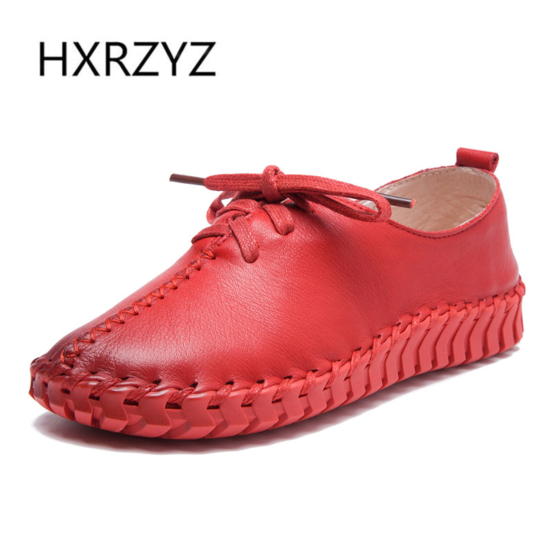 HXRZYZ women flat shoes ladies hand-sewn genuine leather shoes spring/autumn new fashion lace up thick sole non-slip women shoes<br>