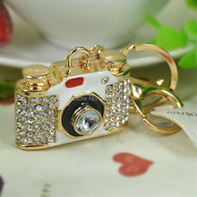 New Creative Fashion Camera Keyring Rhinestone Crystal Buckle Keychain Key Ring For Women Charms Bag Pendant Jewelry Gift