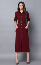 New arrival women fashion winter long dress 7 cent wine red clothing sleeve American style casual spring clothing size XL M#E344